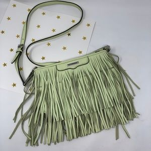 Rebecca Minkoff Finn Fringe Crossbody Bag Green